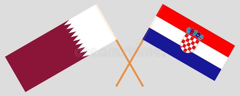 克罗地亚和卡塔尔 克罗地亚人和Qatari旗子 E r ?? 库存例证