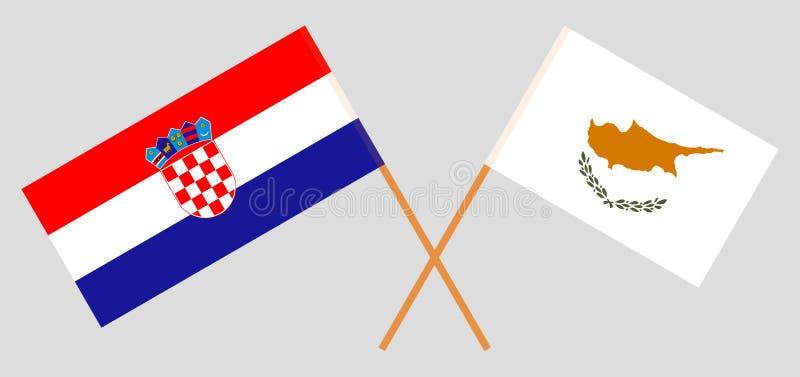 克罗地亚和塞浦路斯 克罗地亚人和居普良旗子 E r ?? 向量例证