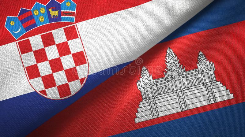 克罗地亚和柬埔寨两旗子纺织品布料,织品纹理 库存例证