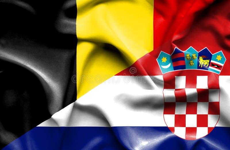 克罗地亚和比利时的挥动的旗子 库存例证
