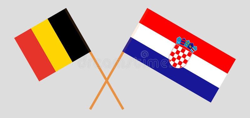 克罗地亚和比利时 克罗地亚和比利时旗子 E r ?? 库存例证