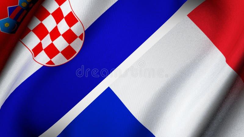 克罗地亚和法国的旗子 免版税库存照片