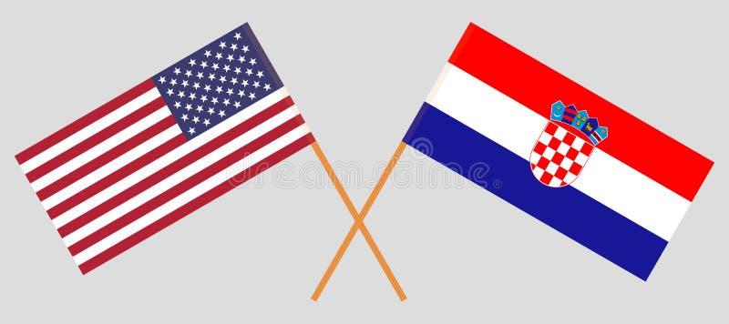 克罗地亚和美国 克罗地亚人和美国旗子 E r ?? 皇族释放例证