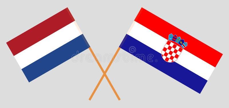 克罗地亚和荷兰 克罗地亚人和Netherlandish旗子 E r ?? 皇族释放例证