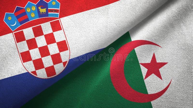克罗地亚和阿尔及利亚两旗子纺织品布料,织品纹理 皇族释放例证