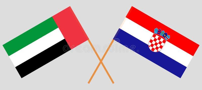 克罗地亚和阿拉伯联合酋长国 克罗地亚人和阿拉伯联合酋长国旗子 E r ?? 向量例证