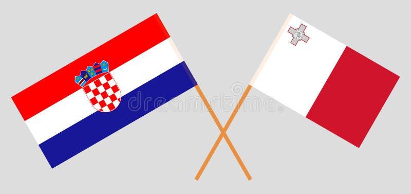 克罗地亚和马耳他 克罗地亚和马尔他旗子 E r ?? 向量例证
