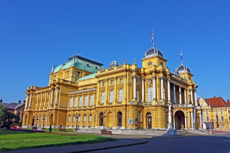 克罗地亚国家戏院在萨格勒布 免版税库存照片