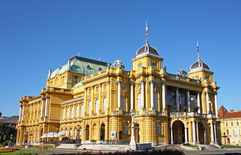 克罗地亚国家戏院在萨格勒布 库存照片