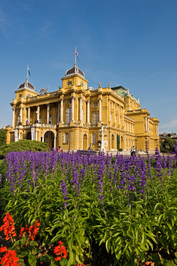 克罗地亚国家戏院萨格勒布 免版税库存照片