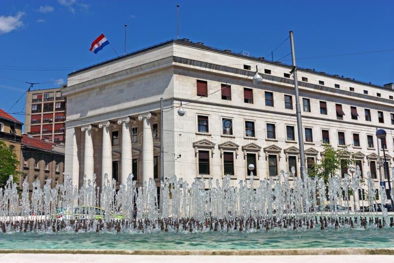 克罗地亚国家银行,萨格勒布 免版税图库摄影