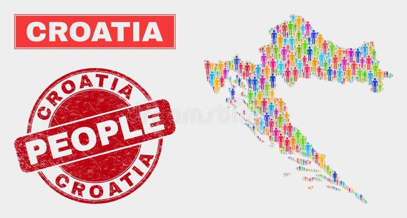 克罗地亚地图人口人口统计学和被抓的邮票封印 向量例证