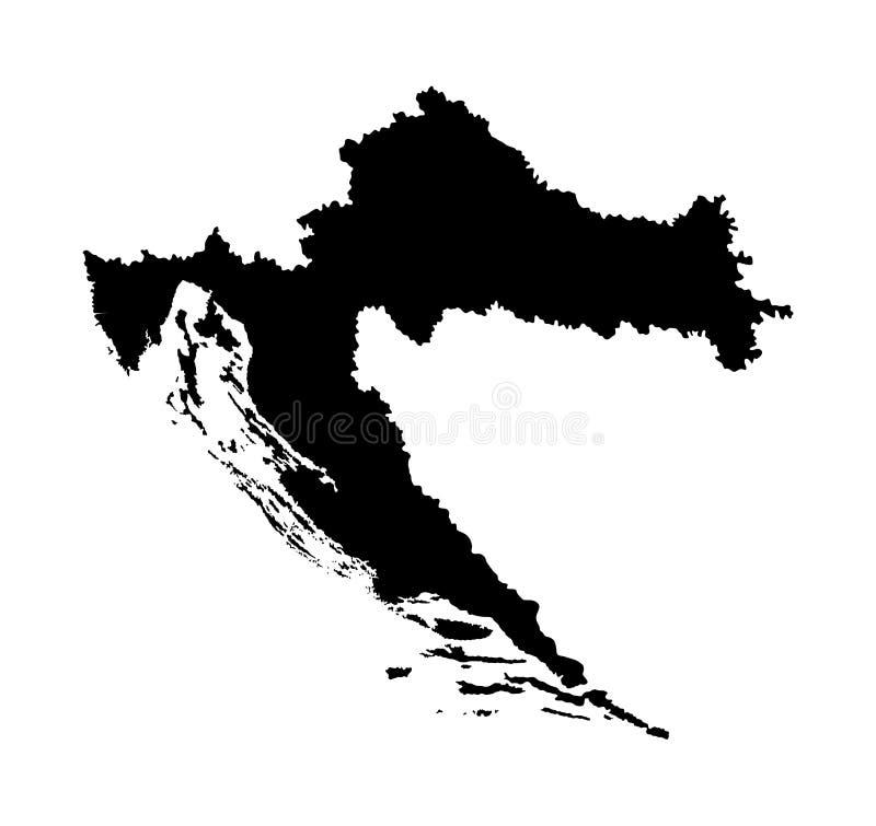 克罗地亚地图剪影 欧盟国家 欧洲国家 库存例证