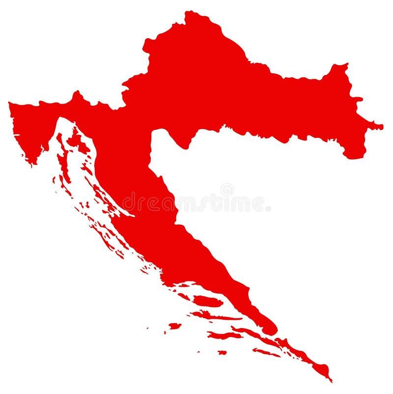克罗地亚地图-国家在中央和东南欧洲 向量例证