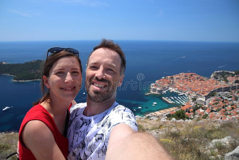 克罗地亚旅游selfie 库存照片