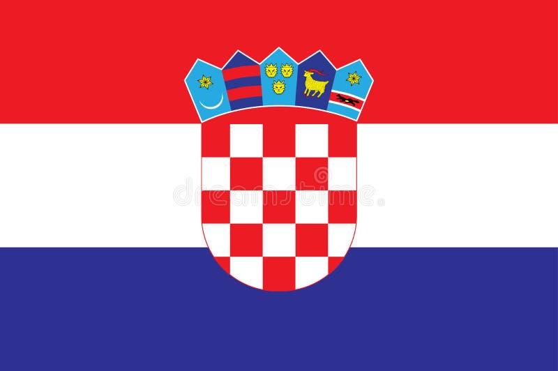 克罗地亚旗子传染媒介例证 可用的克罗地亚标志玻璃样式向量 库存例证