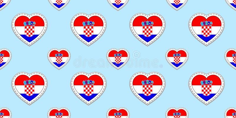 克罗地亚旗子无缝的样式 传染媒介克罗地亚人下垂stikers 爱心脏标志 语言课的纹理,橄榄球,体育 皇族释放例证