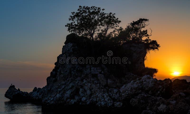 克罗地亚日落 免版税图库摄影