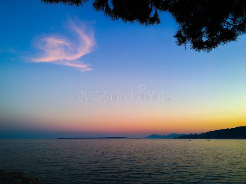克罗地亚杜布罗夫尼克市海岛地点地中海最近的日落 免版税库存照片