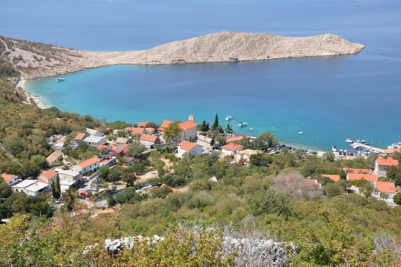 克罗地亚沿海的村庄 免版税图库摄影