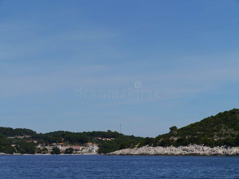 克罗地亚海岛姆列特岛的Saplunara海湾 图库摄影