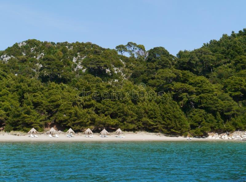 克罗地亚海岛姆列特岛的Saplunara海湾 免版税库存照片