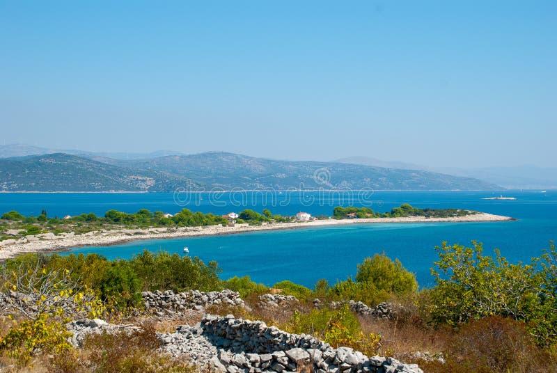 克罗地亚海岛小德尔韦尼克岛 免版税库存图片