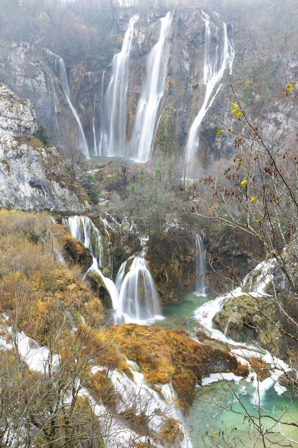 克罗地亚湖国家公园plitvice sostavtsy瀑布 免版税图库摄影