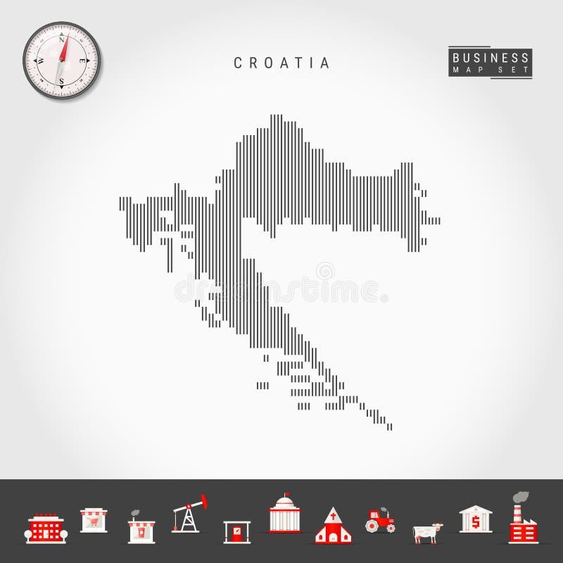 克罗地亚的传染媒介垂直线地图 克罗地亚的镶边剪影 现实指南针 r 库存例证