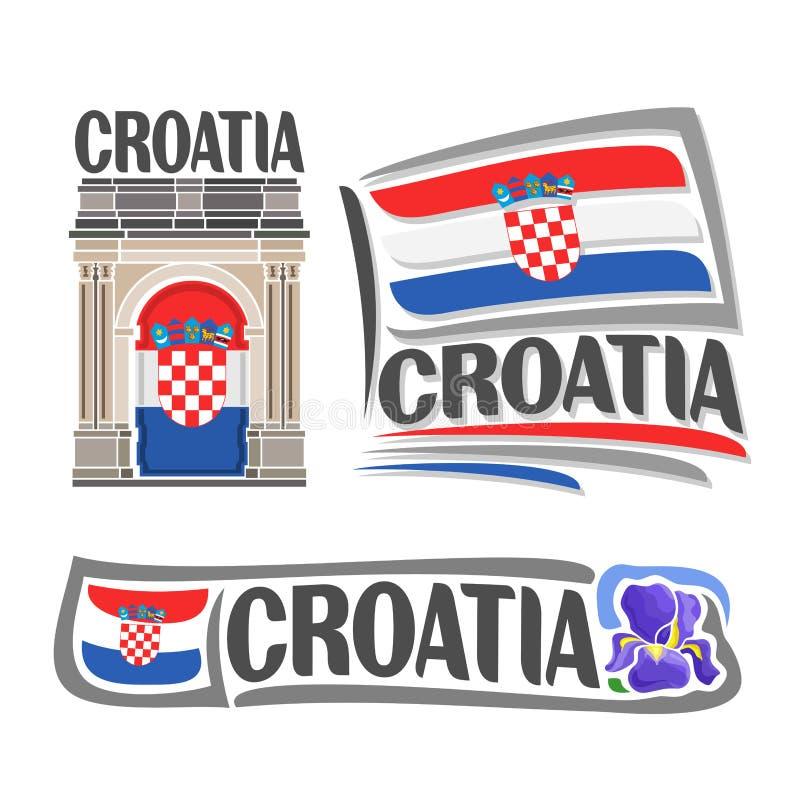 克罗地亚的传染媒介商标 库存例证