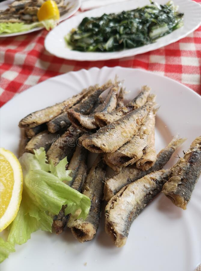 克罗地亚的味道/炸凤尾鱼与甜菜 免版税库存图片