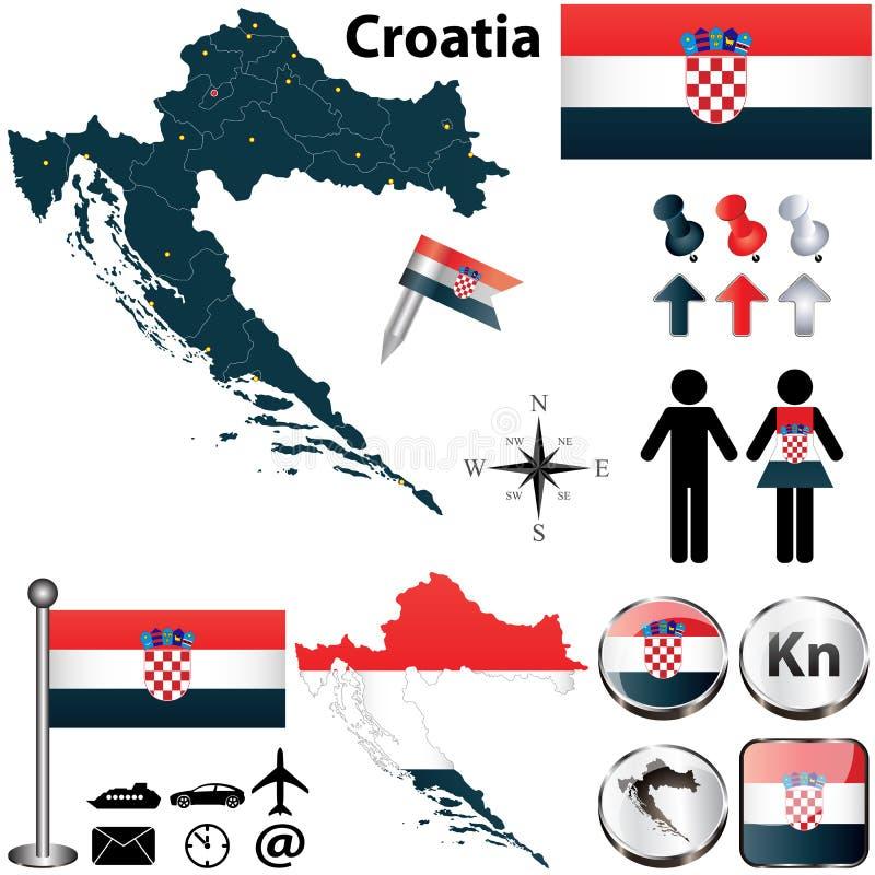 克罗地亚的地图 皇族释放例证