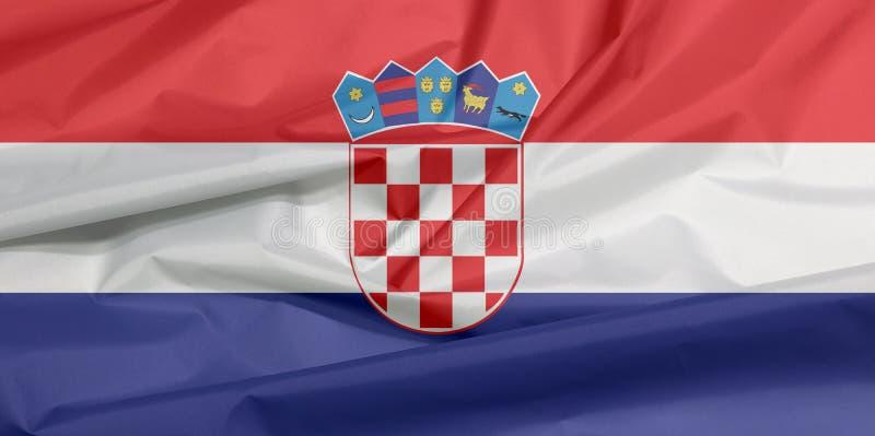 克罗地亚的织品旗子 克罗地亚人旗子背景折痕  向量例证