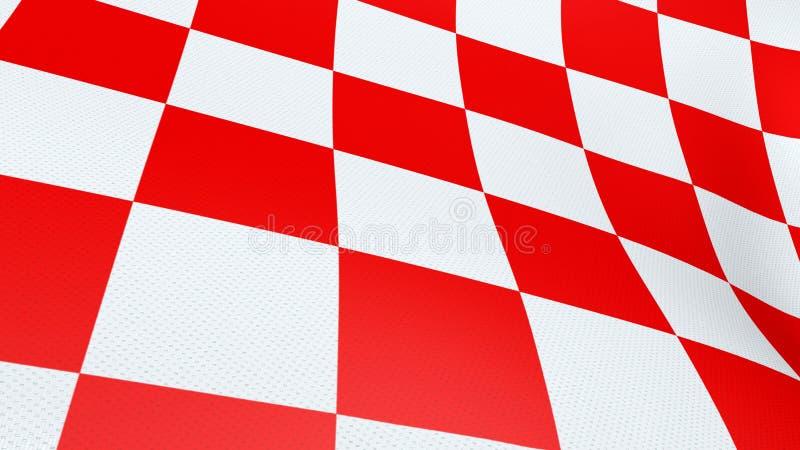 克罗地亚红色和白色检查板挥动的旗子 库存照片