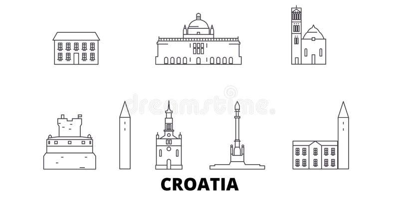 克罗地亚线旅行地平线集合 克罗地亚概述城市传染媒介例证,标志,旅行视域,地标 库存例证