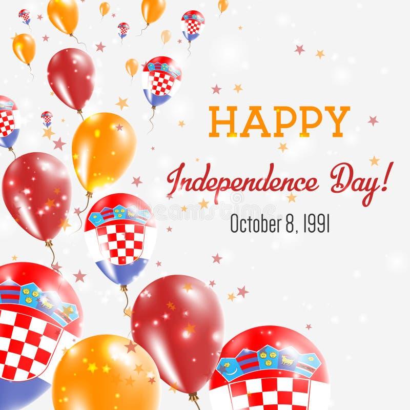 克罗地亚美国独立日贺卡 向量例证