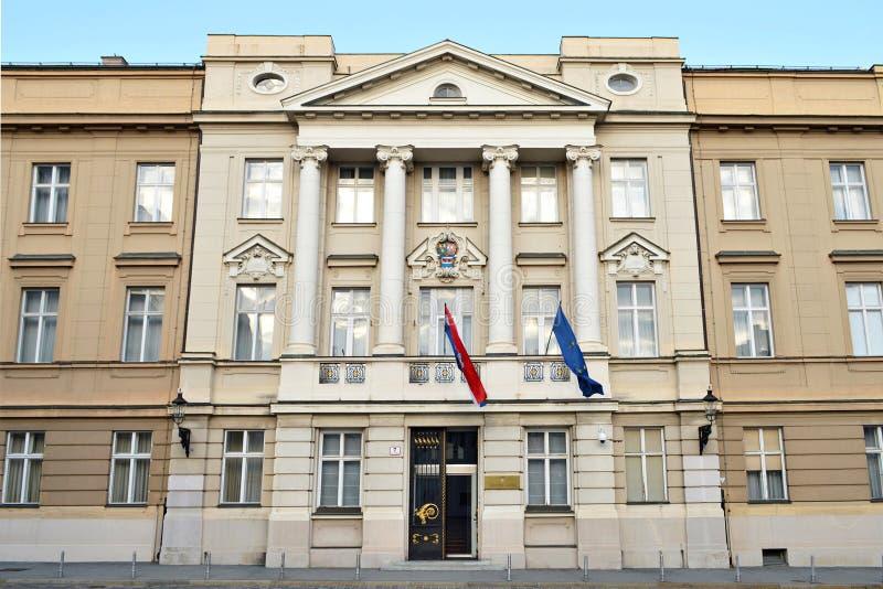 克罗地亚议会宫殿,萨格勒布,克罗地亚 免版税库存图片