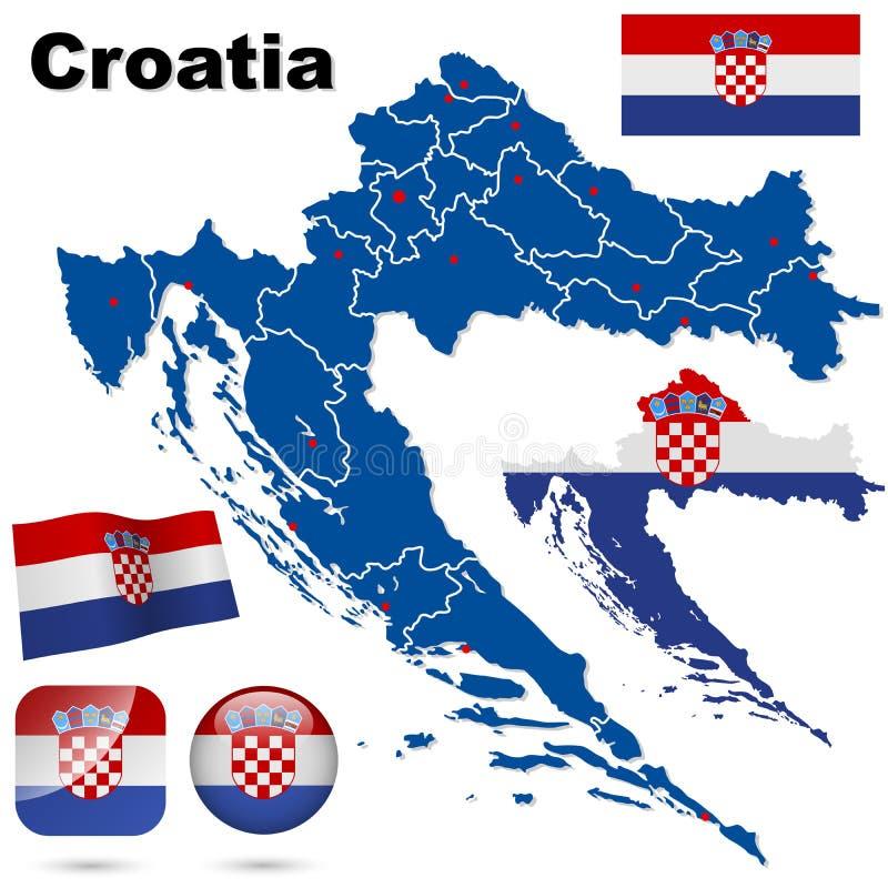 克罗地亚集。 库存例证