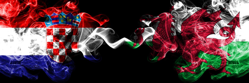 克罗地亚,克罗地亚人,威尔士,威尔士竞争厚实的五颜六色的发烟性旗子 欧洲橄榄球资格比赛 向量例证