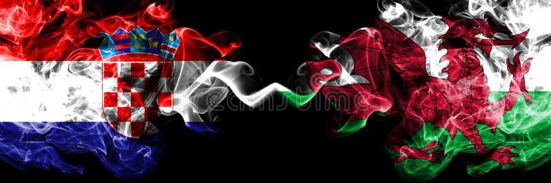 克罗地亚,克罗地亚人,威尔士,威尔士,轻碰竞争厚实的五颜六色的发烟性旗子 欧洲橄榄球资格比赛 库存例证