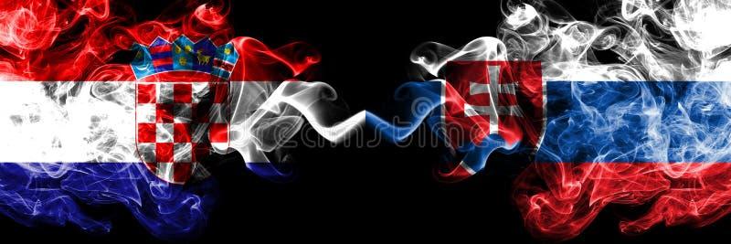 克罗地亚,克罗地亚人,斯洛伐克,斯洛伐克的竞争厚实的五颜六色的发烟性旗子 欧洲橄榄球资格比赛 皇族释放例证