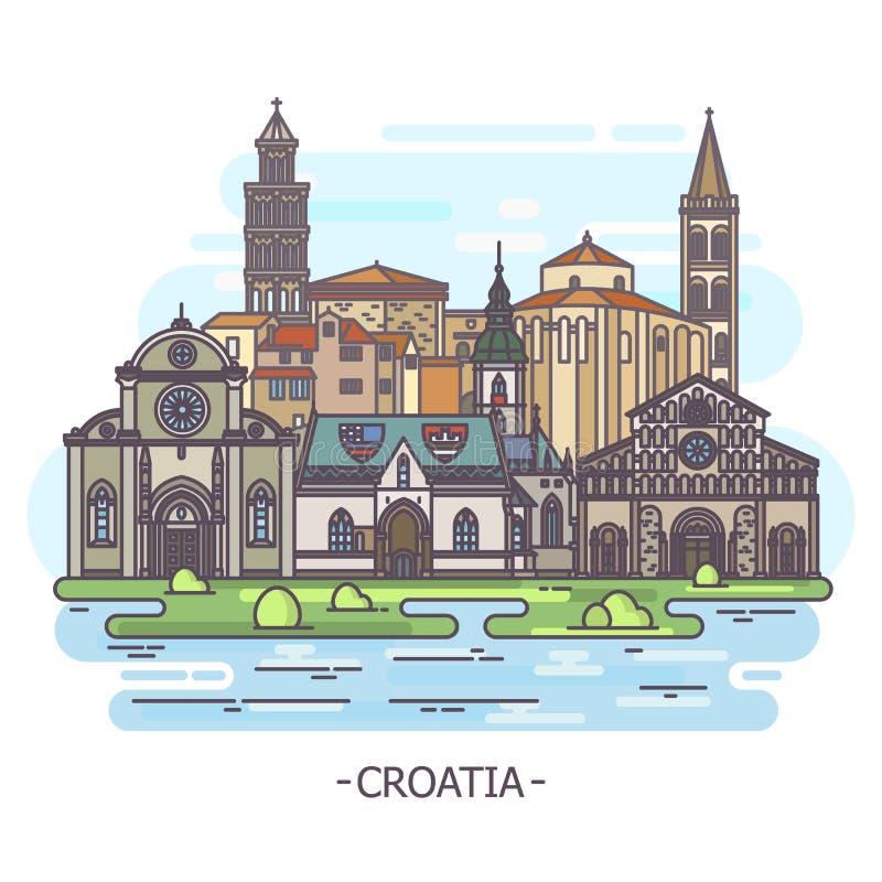 克罗地亚,建筑学,旅游业题材的古迹 库存例证