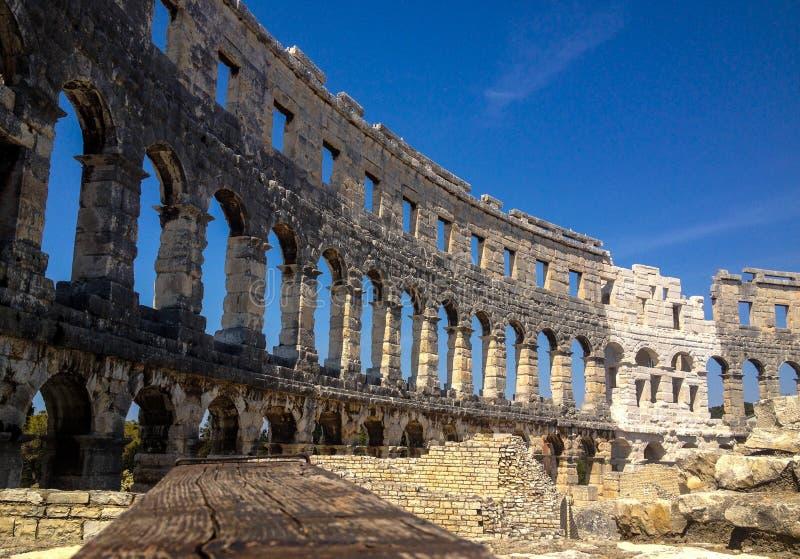 克罗地亚,amfiteatar普拉的竞技场- 库存图片