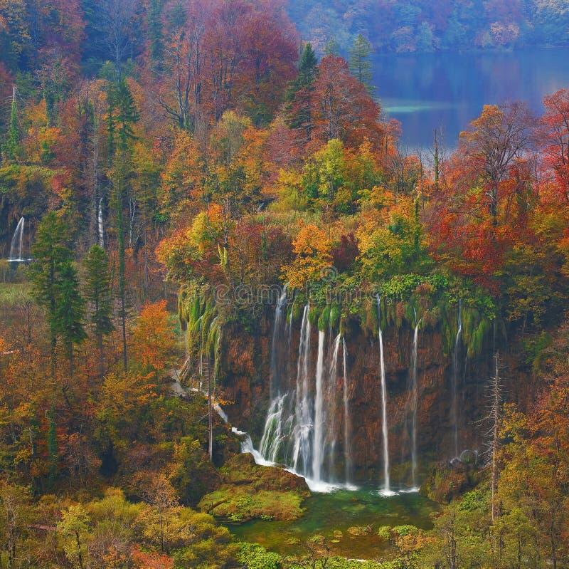 克罗地亚-国家公园的Plitvice湖在秋天 库存图片