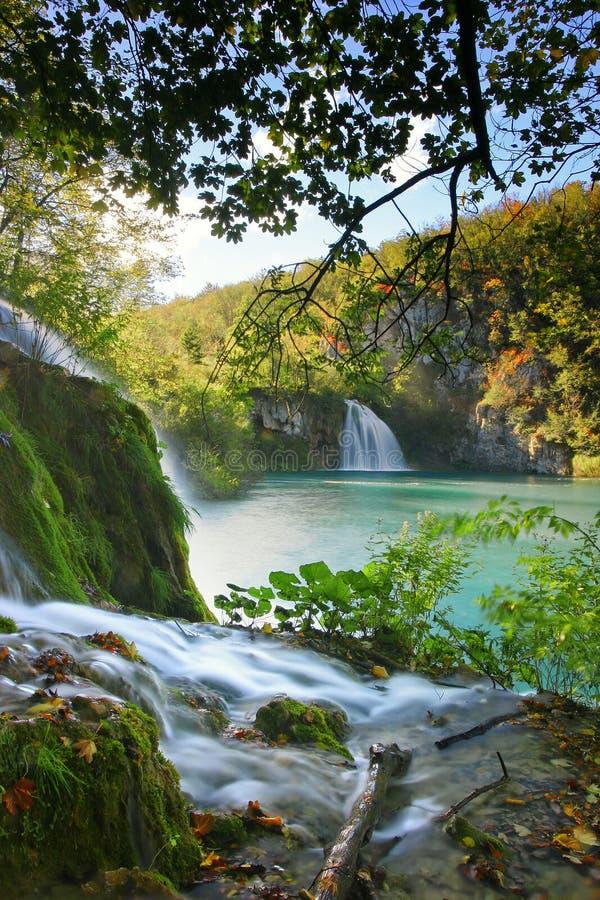 克罗地亚-国家公园的Plitvice湖在秋天 图库摄影