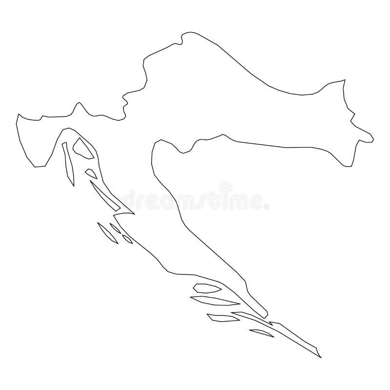 克罗地亚-国家区域坚实黑概述边界地图  简单的平的传染媒介例证 皇族释放例证