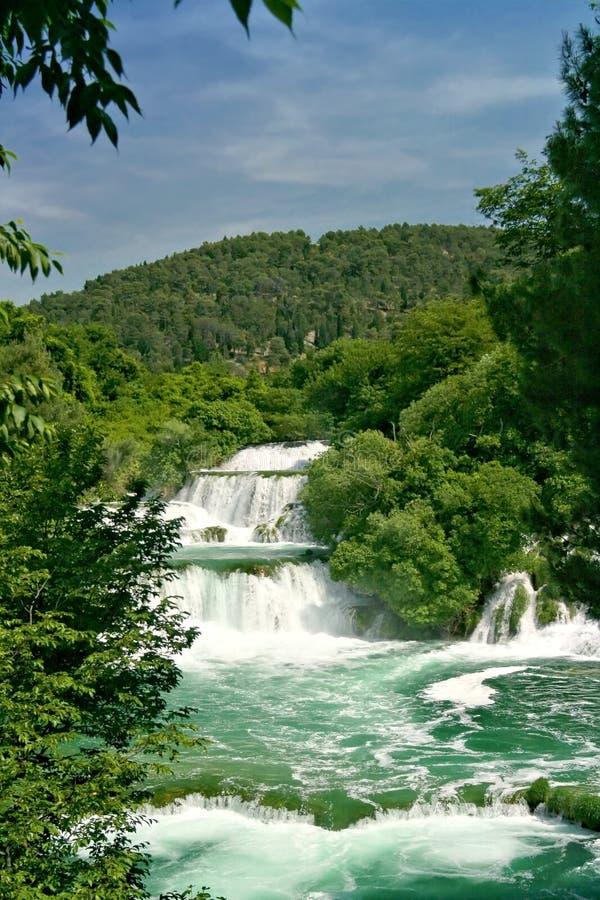 克罗地亚krka瀑布 免版税图库摄影