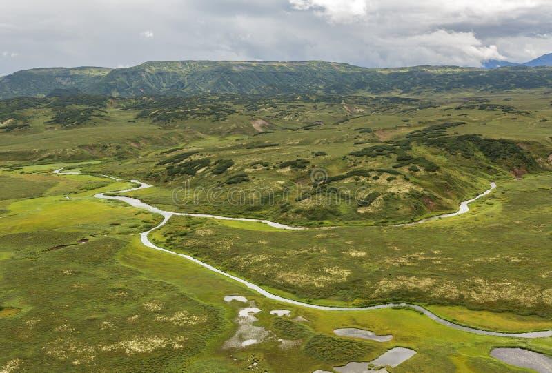 克罗诺基火山在堪察加半岛的自然保护 从直升机的看法 库存图片