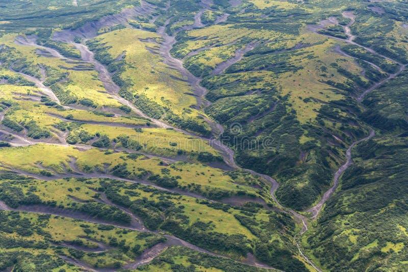 克罗诺基火山在堪察加半岛的自然保护 从直升机的看法 图库摄影