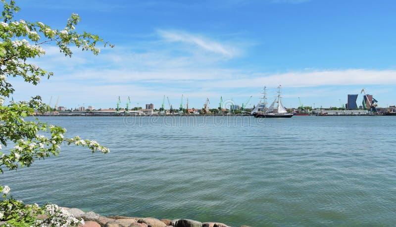 克莱佩达市港口,立陶宛 库存照片